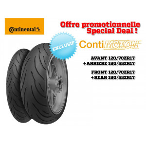 Pack 2 pneus Sport-Touring CONTINENTAL ContiMotion (120/70 ZR 17 + 180/55 ZR 17)