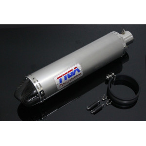 Silencieux Tyga inox rond embout carbone 4 temps 50mm