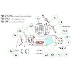 Pièces détachées échappement Arrow, Yamaha MT07 2014-17