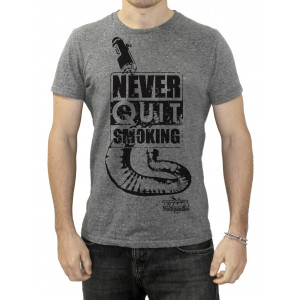 "Tee Shirt Tyga-Performance ""Never quit smoking"" gris taille S à XXL"